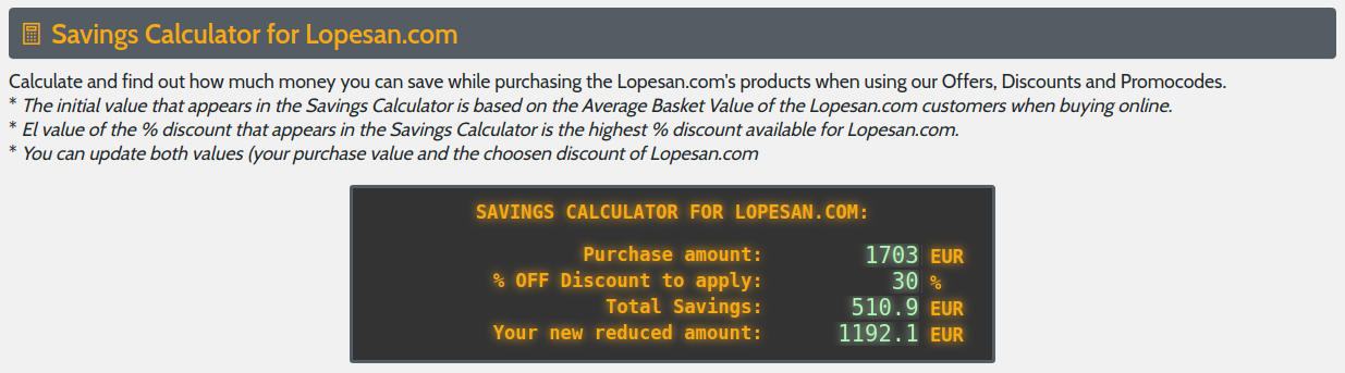 Monster-Coupons.com Savings Calculator example